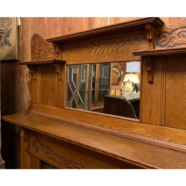 1910s Victorian Oak Fireplace Mantel For Sale In Boston - Image 6 of 10