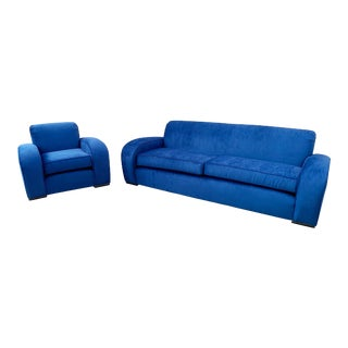 1930's French Art Deco Sofa and Chair Set, Refinished in Blue Velvet For Sale