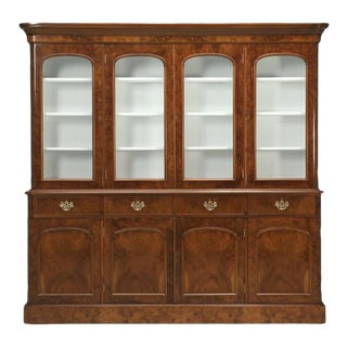 Antique English Burl Walnut Bookcase 1800s For Sale