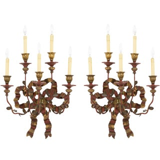 Early 20th Century Vintage Bow Sconces - a Pair For Sale