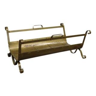 Quality Vintage Brass Fireplace Log Holder For Sale