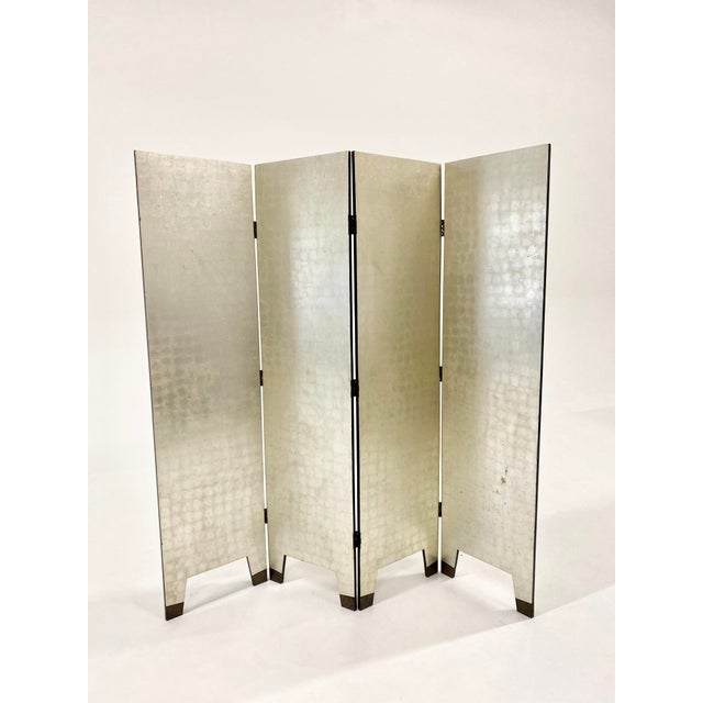 Late 20th Century Silver Foil Folding Screen For Sale - Image 5 of 5