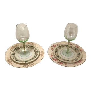 1940s Shabby Chic Multi Color Table China and Goblets - 6 Pieces For Sale