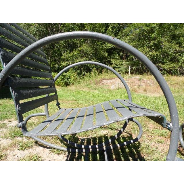 Art Deco Patio Metal Hoop Rocking Chairs - A Pair - Image 8 of 10