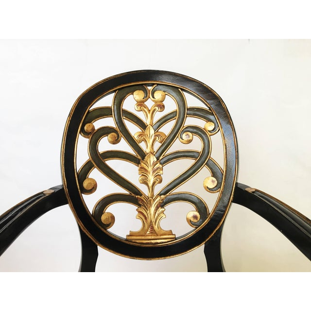 Pair of Elegant Sheraton Style Lacquer and Gilt Carved Armchairs For Sale - Image 4 of 9