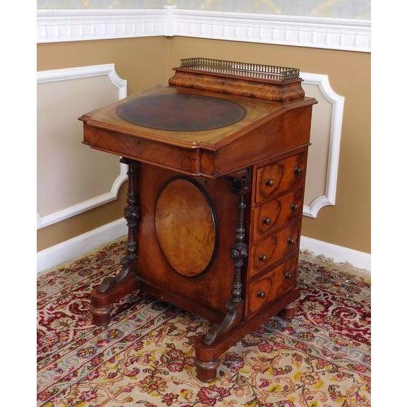 Victorian English Burl Walnut Davenport Desk - Image 9 of 9