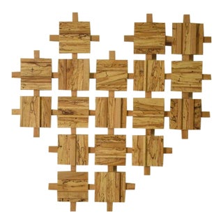 Modern Pixelated Maple Wall Hanging For Sale