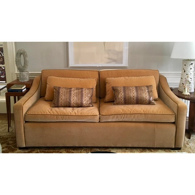 Champagne Luxury Mohair & Leather Trim Sofa For Sale - Image 8 of 9