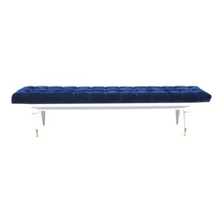 Long French Art Deco Snow White Lacquered Long Sitting Bench, Circa 1940s. For Sale