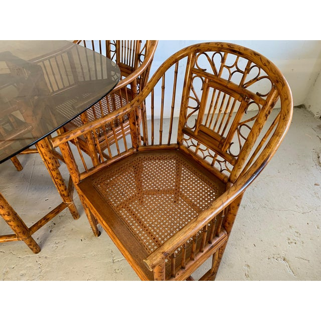 Wood Brighton Pavilion Rattan Dining Set 4 Chairs and Table - Set of 5 For Sale - Image 7 of 10