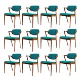 Image of 1960s Kai Kristiansen Model 42 Teak Dining Chairs - Set of 12 For Sale