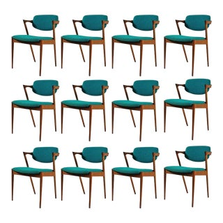 1960s Kai Kristiansen Model 42 Teak Dining Chairs - Set of 12 For Sale