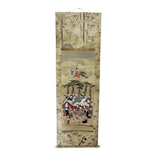 Antique 19th C. Japanese Embroidered & Hand Painted Scroll / Wall Hanging - Edo Period Kakejiku For Sale