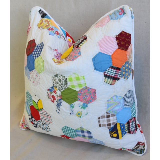 American American Patchwork Quilt Feather/Down Pillow For Sale - Image 3 of 5
