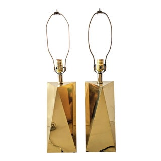 Vintage Faceted Geometric Brass Table Lamps - a Pair For Sale