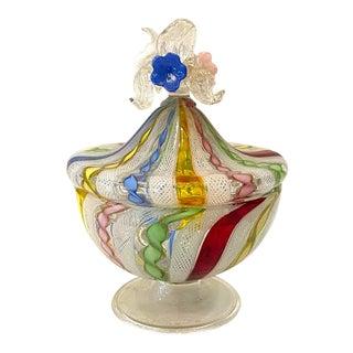 Mid 20th Century Murano Multi Colored Ribbon Glass Dish For Sale