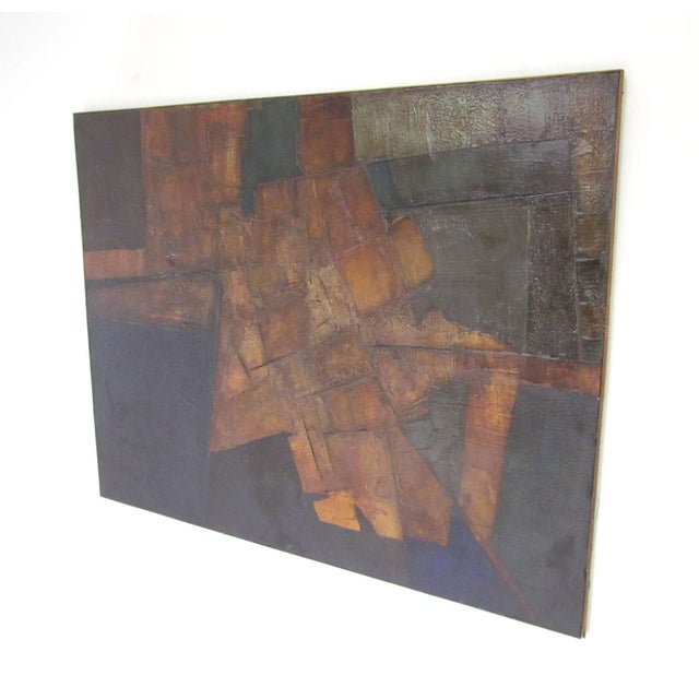 """Rare large abstract painting titled """"Yucatan"""" by noted Berkshire, MA artist John Stritch. Painted in France in 1963 at the..."""