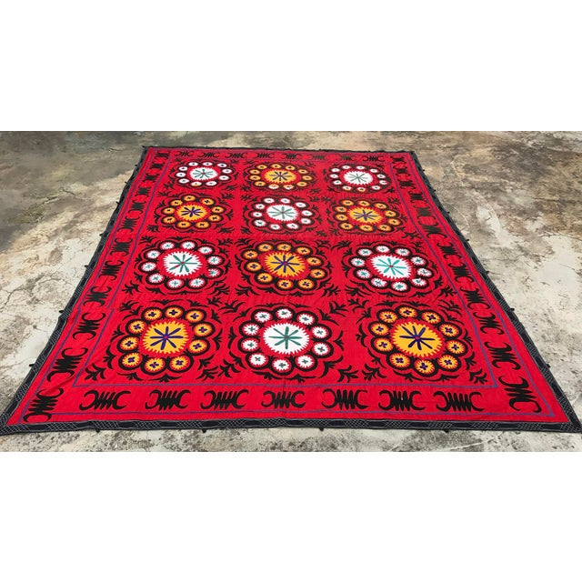 COLORFUL SUZANI FABRIC - Handmade Bedspread - Vintage Table Cover - Wall Hanging. * size is 9.9 FEET x 7.8 FEET ( 303 CM x...