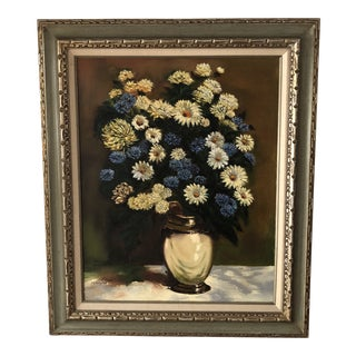 1970's Hollywood Regency Floral Still Life Painting by Sylvia Peterson For Sale