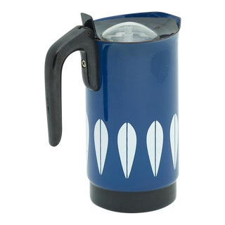 Vintage Blue and White Enamel Percolator Coffee Pot in the Lotus Pattern by Cathrineholm of Norway For Sale
