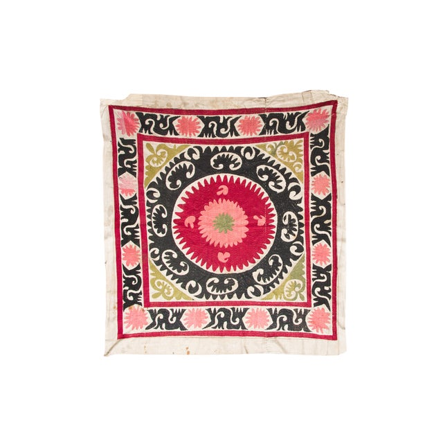 Vintage Pink & Red Suzani Textile For Sale