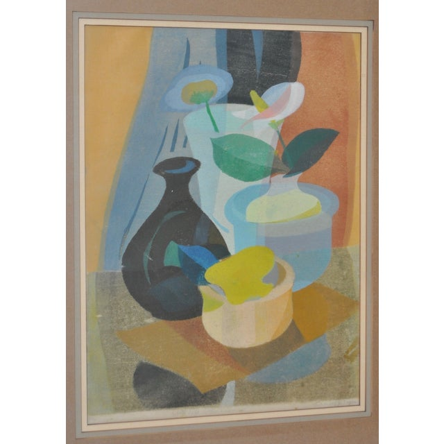 Mid-Century Modern 1950s Still Life with Flowers Woodblock For Sale - Image 3 of 8