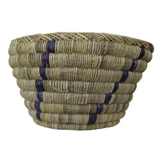 Woven Indigo and Natural Rattan Basket For Sale
