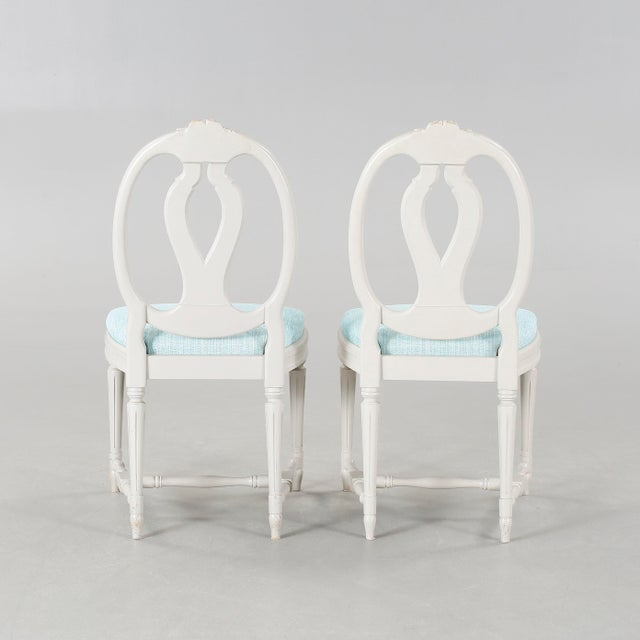 1970s Vintage Gustavian Carved Rose Chairs- Set of 6 For Sale - Image 4 of 6