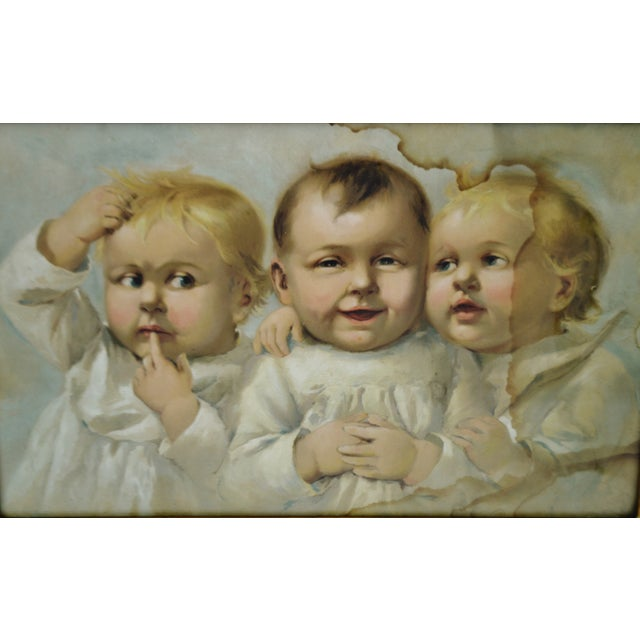 Early Gesso Framed Print of Three Babies - Image 3 of 8