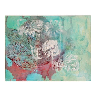 Original Vintage Abstract Watercolor Painting in Aqua For Sale