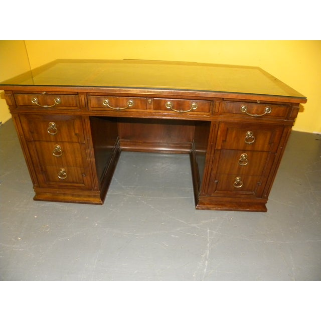Leather Top Mahogany Desk by Sligh Furniture For Sale - Image 9 of 11
