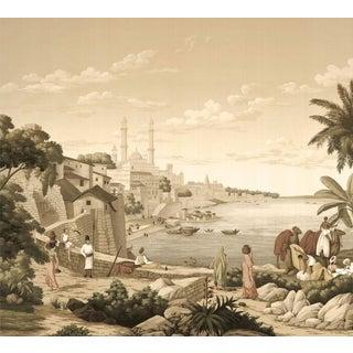"Casa Cosima Sepia Jaipur Wallpaper Mural - 4 Panels 144"" W X 120"" H For Sale"