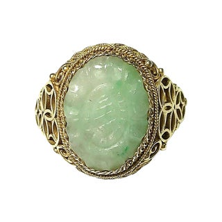 Chinese Gold-Plated Sterling & Jade Ring For Sale