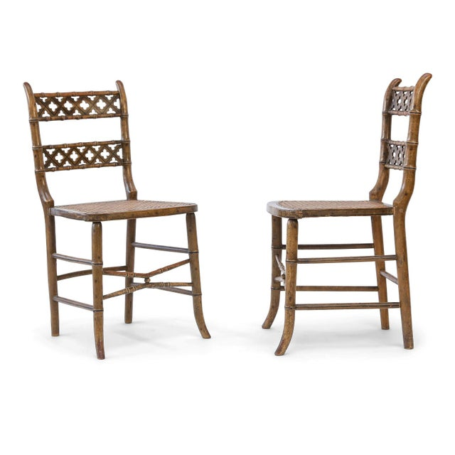 Pair of Regency Faux Bamboo Chairs For Sale - Image 9 of 9