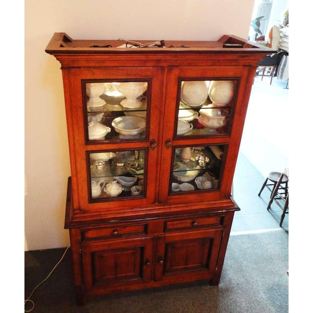This wonderful wood and bubble glass doors wall cupboard has been newly wire for interior lighting with a on an off...