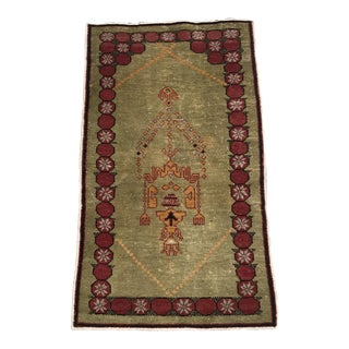 "Hand Made Vintage Classic Turkish Area Prayer Rug- 2'6""x4'6"" For Sale"