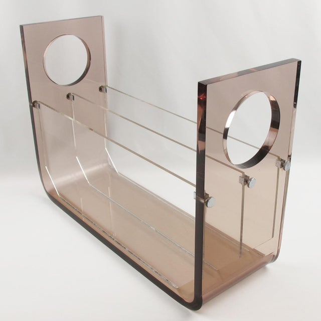 Metal Roche Bobois France 1970s Smoked Gray Lucite Magazine Rack Stand For Sale - Image 7 of 9