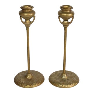 Tiffany Reproduction Candlestick Holders With Hammered Bases - a Pair For Sale