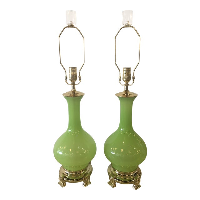 Vintage Paul Hanson Green Opaline Glass Brass Base Table Lamps - A Pair For Sale