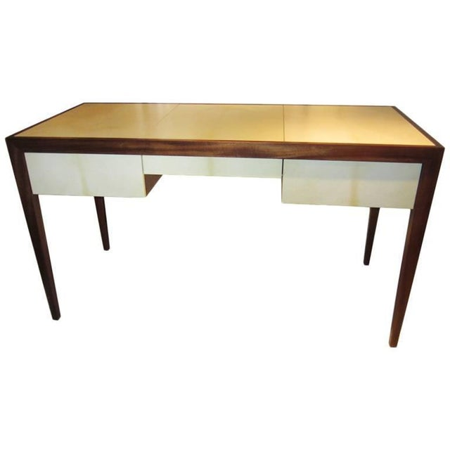 Mahogany Custom parchment and Mahogany Writing Desk For Sale - Image 7 of 7