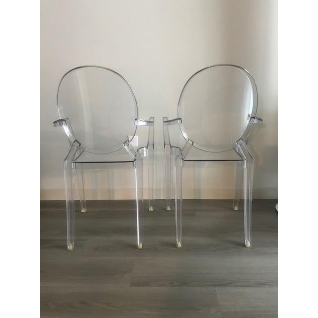 Kartell Modern Philippe Starck for Kartell Louis Ghost Armchairs - a Pair For Sale - Image 4 of 5
