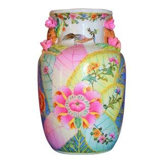 1980s Chinoiserie Tobacco Leaf Lamp Base Vase