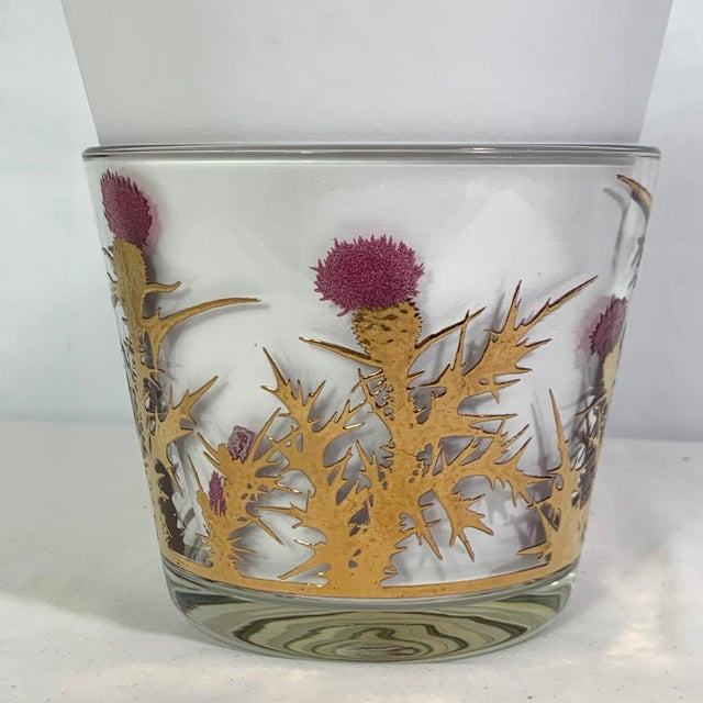 Mid-century Modern Gregory Duncan Purple Gold Thistle Barware Set of 5 Highball Glasses and 1 Ice Bucket In excellent used...