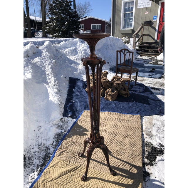 Classic Georgian Style Carved Mahogany Torchiere Plant Stand For Sale - Image 11 of 11