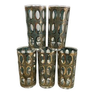 Mid-Century 22K Gold Highball Glasses - Set of 5 For Sale