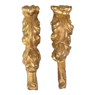 Antique 19th Century Italian Hanging Giltwood Fragments Wall Decor - a Pair For Sale