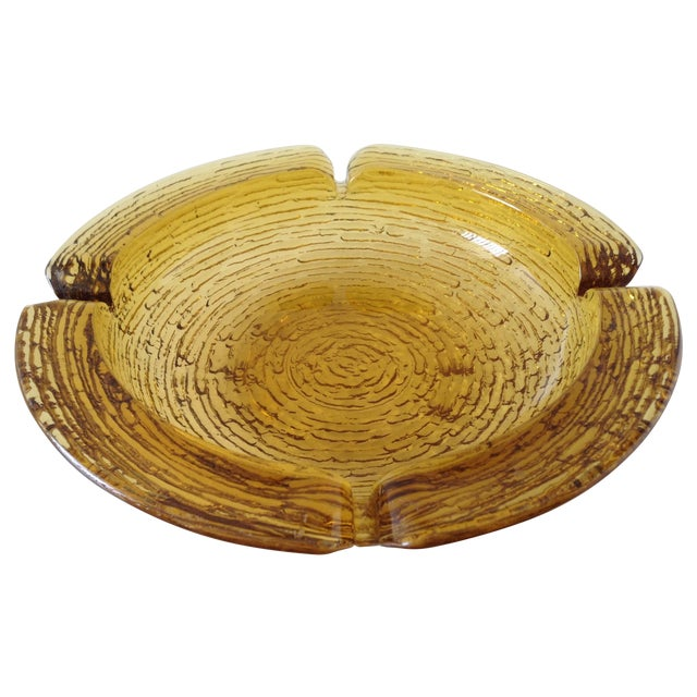 Amber Waterfall Glass Ashtray Catchall Dish - Image 1 of 3