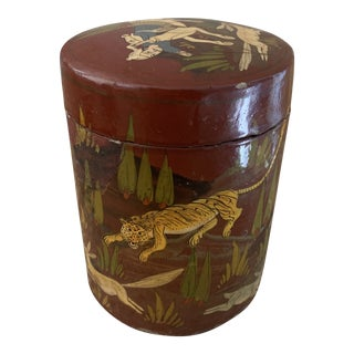 Kashmiri Hand-Painted Lacquered Round Canister Box For Sale