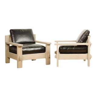 Vintage French Mid-Century Large Club Chairs in Solid Oak with Original Leather Cushions - a Pair For Sale