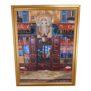 La Belle Epoque by A. Williams. Paris Sidewalk Cafe Circa 1900, Acrylic on Canvas For Sale